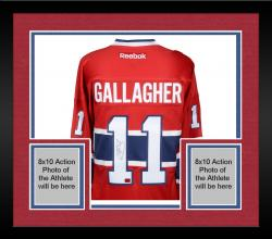 Framed Brendan Gallagher Montreal Canadiens Autographed Red Reebok Premier Jersey