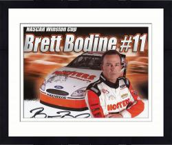 Framed Brett Bodine Autographed 8'' x 10'' Hooters Outside Car Photograph