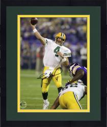 "Framed Brett Favre Green Bay Packers Autographed 8"" x 10"" TD Pass vs. Minnesota Vikings Photograph"