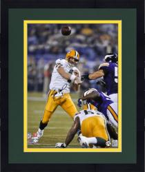 "Framed Brett Favre Green Bay Packers Autographed 16"" x 20"" TD Record Pass Photograph"
