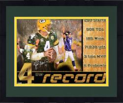 Framed Brett Favre Green Bay Packers Autographed 18'' x 24'' The Record Photograph