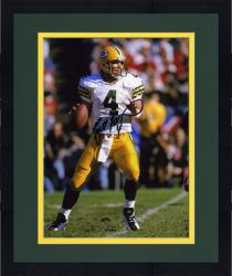 "Framed Brett Favre Green Bay Packers Autographed 8"" x 10"" Ball in One Hand Photograph"
