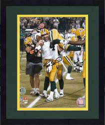 Framed Brett Favre Green Bay Packers Autographed 8'' x 10'' Carrying Greg Jennings Photograph