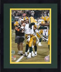 "Framed Brett Favre Green Bay Packers Autographed 8"" x 10"" Carrying Greg Jennings Photograph"