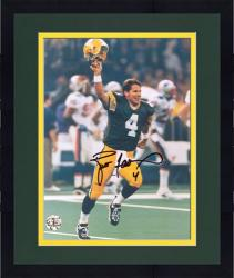 "Framed Brett Favre Green Bay Packers Autographed 8"" x 10"" Helmet in Air Photograph"