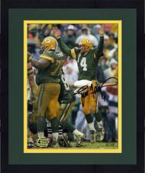 "Framed Brett Favre Green Bay Packers Autographed 8"" x 10"" Jumping Up Photograph"