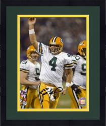 Framed Brett Favre Green Bay Packers Autographed 8'' x 10'' Touchdown Pass Celebration Photograph
