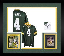 Framed Brett Favre Green Bay Packers Autographed Reebok Authentic Green Jersey