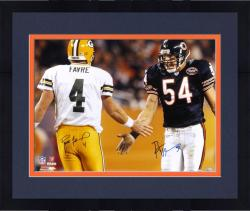 Framed Brett Favre Green Bay Packers & Brian Urlacher Chicago Bears Dual Autographed 16'' x 20'' Photograph