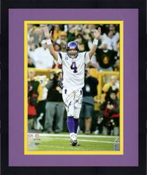 "Framed Brett Favre Minnesota Vikings Autographed 16"" x 20"" Arms Raised Photograph"