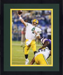 "Framed Brett Favre Green Bay Packers Autographed 16"" x 20"" TD Pass vs. Minnesota Vikings Photograph"
