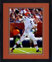 Framed Brian Hoyer Cleveland Browns Autographed 16'' x 20'' Over The Top Throw Photograph