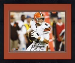 """Framed Brian Hoyer Cleveland Browns Autographed Close-up Holding Ball 8"""" x 10"""" Photograph"""