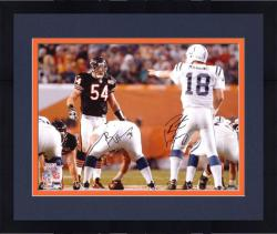 Framed Brian Urlacher and Peyton Manning Super Bowl XLI Autographed 16'' x 20'' Photo