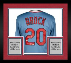 "Framed BROCK, LOU AUTO ""HOF 85"" (CARDS/MAJESTIC COOP) (MLB) JERSEY - Mounted Memories"