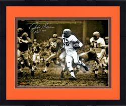 Framed Jim Brown Cleveland Browns Autographed 16'' x 20'' Spotlight Photograph with HOF 71 Inscription