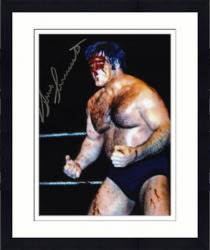 Framed Bruno Sammartino Autographed 8'' x 10'' Blood Photograph