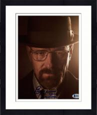 "Framed Bryan Cranston Autographed 8"" x 10"" Breaking Bad Up Close With Hat on Photograph - Beckett COA"