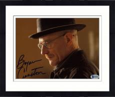 "Framed Bryan Cranston Autographed 8"" x 10"" Breaking Bad Up Close With Hat on Side View Photograph - Beckett COA"