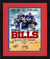 Framed Buffalo Bills Autographed 16'' x 20'' Photograph with 5 Signatures and HOF Inscription
