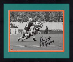 Framed Nick Buoniconti Miami Dolphins Autographed 8'' x 10'' Black and White Tackle Photograph with HOF 01 inscription