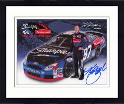 Framed Kurt Busch Autographed 8'' x 10'' Sharpie Rubbermaid Holding Helmet Photograph