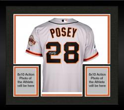 Framed Buster Posey San Francisco Giants Autographed 2014 World Series Grey Jersey