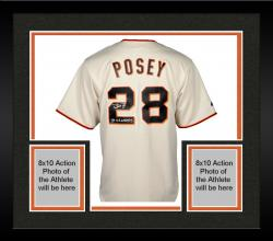 Framed Buster Posey San Francisco Giants Autographed Replica Cream Jersey with 3x WS Champs Inscription