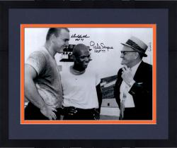 Framed Dick Butkus & Gale Sayers Chicago Bears Autographed 16'' x 20'' With Halas Photograph with HOF 77 & HOF 79 Inscription