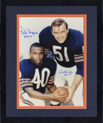"Framed Dick Butkus & Gale Sayers Autographed 16"" x 20"" Posing with Blue Ink Photo with HOF Inscriptions"