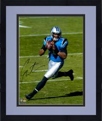 Framed Cam Newton Carolina Panthers Autographed 16'' x 20'' Scramble Photograph - Mounted Memories