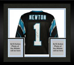 Framed Cam Newton Carolina Panthers Autographed Nike Elite Black Jersey