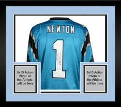 Framed Cam Newton Carolina Panthers Autographed Nike Elite Blue Jersey