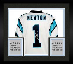 Framed Cam Newton Carolina Panthers Autographed Nike Elite White Jersey