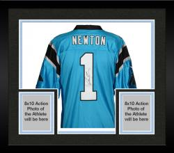 Framed Cam Newton Carolina Panthers Autographed Nike Limited Blue Jersey