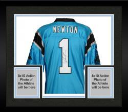 Framed Cam Newton Carolina Panthers Autographed Nike Limited Blue Jersey