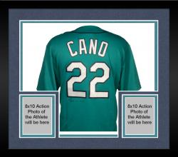 Framed Robinson Cano Autographed Mariners Replica Green Jersey