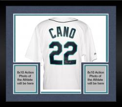 Framed Robinson Cano Autographed Mariners Replica Jersey