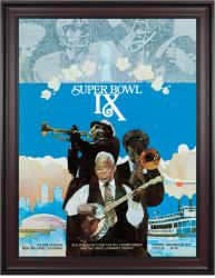 "1975 Steelers vs Vikings 36"" x 48"" Framed Canvas Super Bowl IX Program"