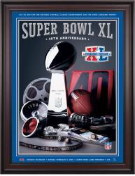 "2006 Steelers vs Seahawks 36"" x 48"" Framed Canvas Super Bowl XL Program"