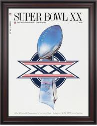 "1986 Bears vs Patriots 36"" x 48"" Framed Canvas Super Bowl XX Program"
