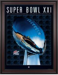 "1987 Giants vs Broncos 36"" x 48"" Framed Canvas Super Bowl XXI Program"