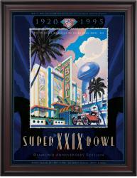 "1995 49ers vs Chargers 36"" x 48"" Framed Canvas Super Bowl XXIX Program"