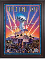 "1993 Cowboys vs Bills 36"" x 48"" Framed Canvas Super Bowl XXVII Program"