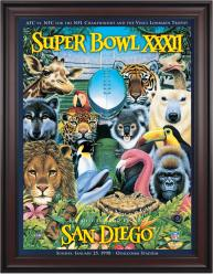 "1998 Broncos vs Packers 36"" x 48"" Framed Canvas Super Bowl XXXII Program"