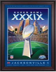 "2005 Patriots vs Eagles 36"" x 48"" Framed Canvas Super Bowl XXXIX Program"