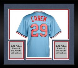 Framed Rod Carew Minnesota Twins Autographed Majestic Cooperstown Jersey