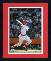 "Framed Carlton Fisk Boston Red Sox Autographed 8"" x 10"" Gray Swinging Photograph"