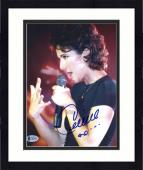"Framed Celine Dion Autographed 8""x 10"" Singing with Hand Up Photograph - Beckett COA"