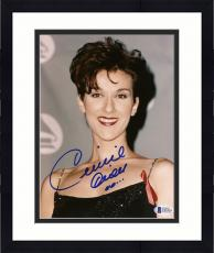 "Framed Celine Dion Autographed 8""x 10"" Wearing Black Dress with Ribbon Photograph - Beckett COA"